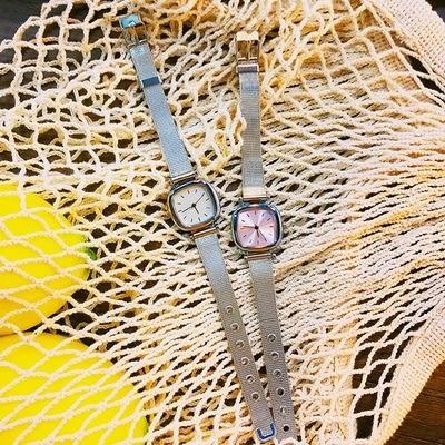 手錶正韓金屬氣質手錶簡約清新復古休閒腕錶方形學生百搭女生小巧手錶【快速出貨】