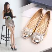 水鑽方頭鞋芭蕾平底鞋 豆豆鞋大碼鞋子《小師妹》sm215