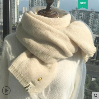 小菠蘿圍巾女秋冬季粗針韓版百搭可愛學生ins少女日系毛線圍脖男-風尚3C
