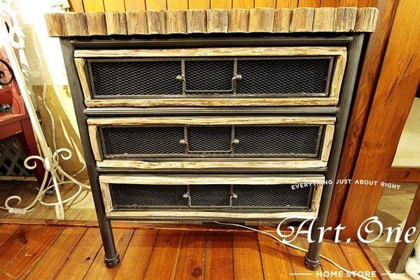 ART ONE 居家設計館 LW68052 木頭鍛鐵3抽矮櫃