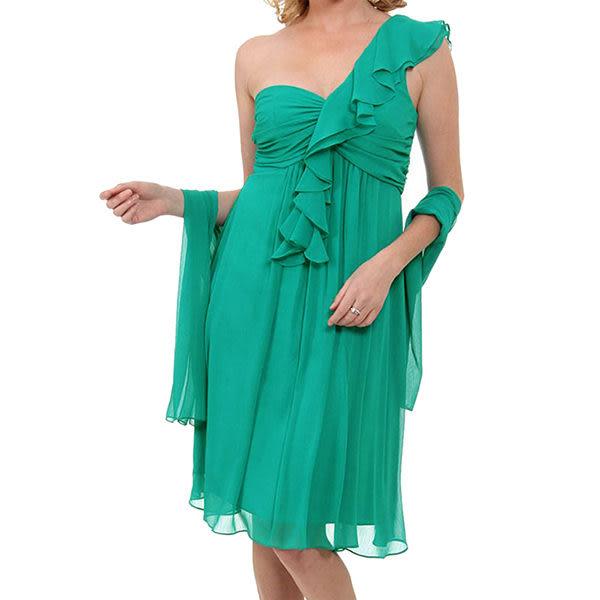 『摩達客』美國進口Landmark單邊荷葉袖浪漫紗裙翠綠派對小禮服/洋裝(含禮盒/附絲巾)(1831395015)