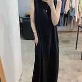 洋裝背心裙新款寬鬆後背綁帶休閒背心慵懶風連身裙S261-847.胖胖唯依