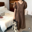 韓版 長款印花洋裝長裙~韓版簡約咖啡色短袖連身裙N601E愛尚布衣