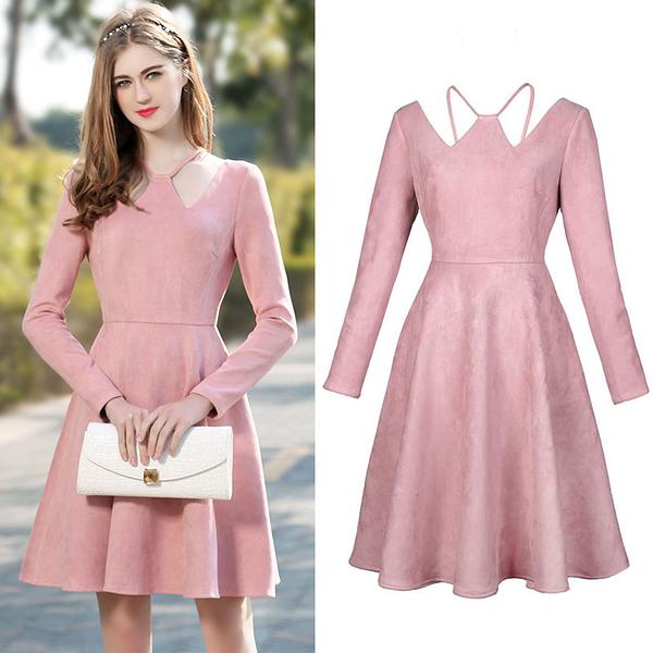 超殺29折 韓系時尚氣質麂皮絨復古V領傘裙長袖洋裝