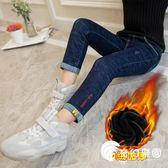 女童牛仔褲2018秋冬裝新款韓版洋氣長褲韓版童裝兒童加絨外穿褲子-奇幻樂園
