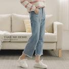 (現貨) 牛仔褲 刺繡高腰毛邊寬版九分褲 -TMH