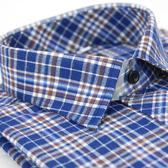 【金‧安德森】棕藍白格紋長袖襯衫