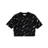 FILA #扳勢回潮 女款 滿版LOGO 短版 短袖 圓領T恤 黑色 5TEV-5425-BK【KAORACER】