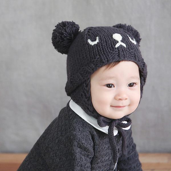 正韓/針織帽 HAPPY PRINCE 睡覺熊熊造型針織帽 Pau Hat 卡其色 / 碳黑色 兩色
