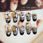 ~現貨~ NC911 黑+白蕾絲滿鑽 24片寶珠新娘成品美甲 假指甲產品可愛貼片成品