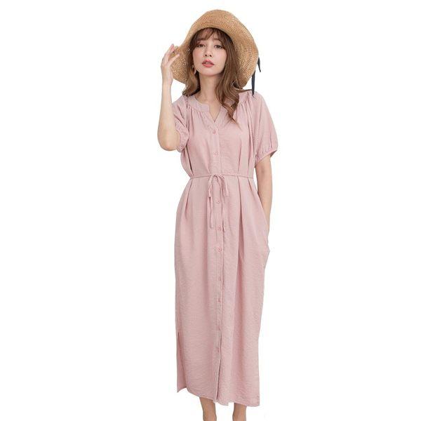 東京著衣【KODZ】KODZ-優雅韓妞條紋排釦附綁帶側開衩洋裝-S.M.L(190902)