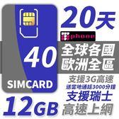 【TPHONE上網專家】歐洲全區40國 12GB超大流量高速上網卡 贈送歐洲3000分鐘通話 20天