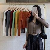 坑條 bm短款復古V領坑條小開衫毛衣外套女正韓秋季修身長袖針織衫上衣-Milano米蘭