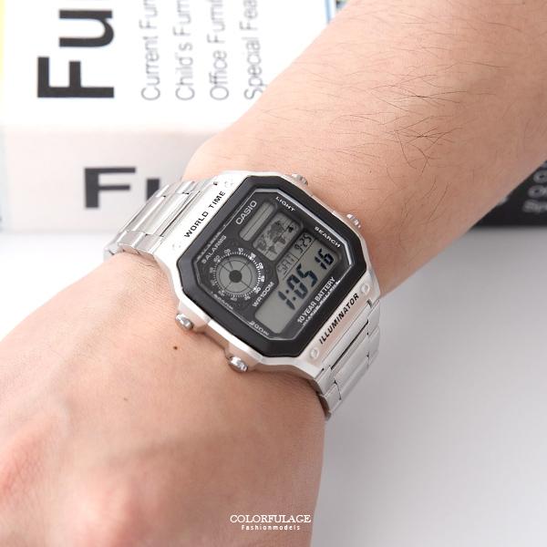 CASIO卡西歐 方型地圖電子腕錶 多樣化面板【NEC94】