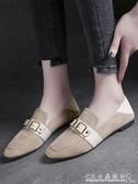 豆豆鞋女百搭時尚英倫風女鞋一腳蹬兩穿平底單鞋 水晶鞋坊