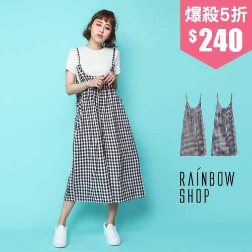 清新俏皮格紋吊帶寬褲-J-Rainbow【A950051】
