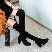 長靴女過膝新款百搭韓版女靴單靴高跟騎士靴粗跟瘦瘦靴-巴黎衣櫃