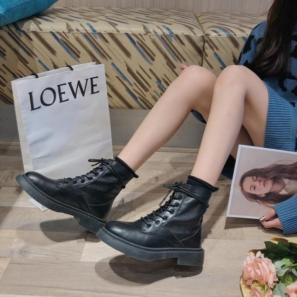 春秋網紅帥氣日系黑色馬丁靴女英倫風潮ins酷顯瘦復古機車短靴子 沸點奇跡