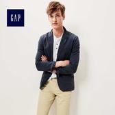 Gap男裝 純色立體剪裁長袖西裝外套 356216-海軍藍