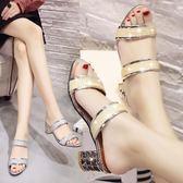 拖鞋女夏外穿2019新款韓版百搭時尚一字拖高跟粗跟厚底涼拖鞋--花戀小鋪