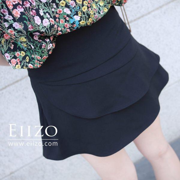 【EIIZO】百搭風雙層設計褲裙(黑)