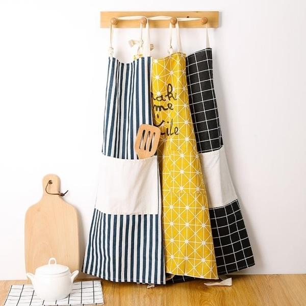 圍裙家用廚房棉質圍裙正韓時尚防水防油成人女士罩衣工作服logo 交換禮物