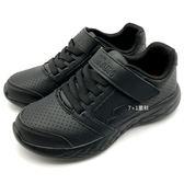《7+1童鞋》中大童 SKECHERS 97862LBBK  輕量 皮面  慢跑鞋 運動鞋 B994  黑色