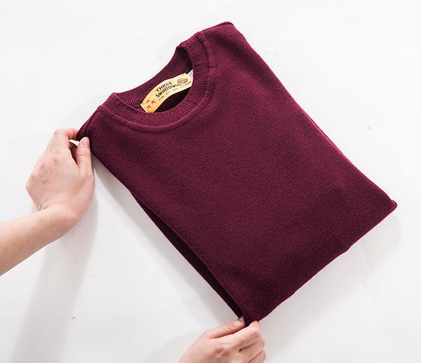 男士 針織毛衣 防縮 小圓領毛衣 純羊毛衣 三燕牌羊毛上衣 美麗諾羊毛 100%純羊毛 7977-2 圓領 棗紅