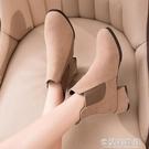 馬丁靴 馬丁靴女年秋冬季新款英倫風粗跟加絨百搭高跟鞋切爾西短靴子 新年禮物