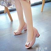 魚嘴涼鞋魚嘴涼鞋夏季新款韓版粗跟高跟鞋舒適潮款女士復古單鞋休閒鞋 海角七號