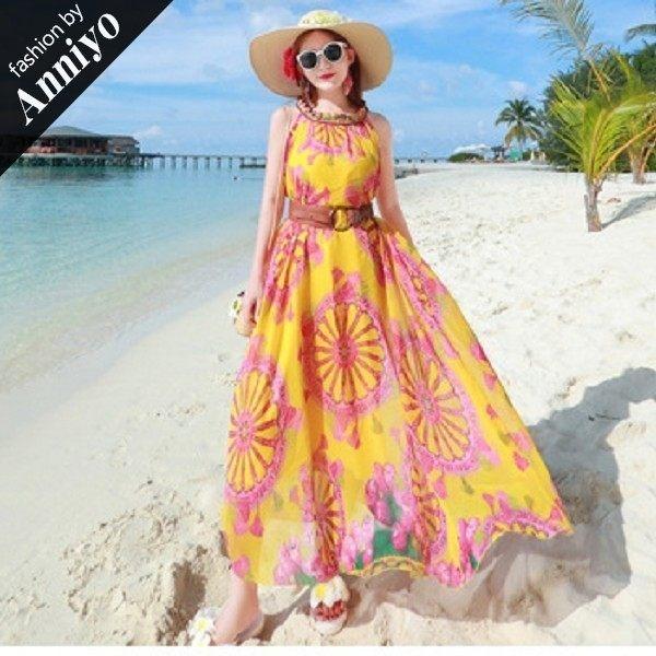 Anniyo安妞‧波西米亞木耳領無袖大裙擺寬鬆海邊度假雪紡長裙沙灘裙長洋裝 黃底粉色