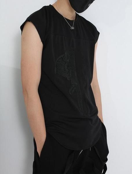 找到自己 MD 韓國 男 街頭 時尚 暗黑 陰陽大象頭刺繡 寬鬆 潮人款 打底衫 特色短T