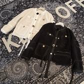 羊羔毛外套-短版蕾絲花邊小花點綴女夾克2色73zg2【巴黎精品】