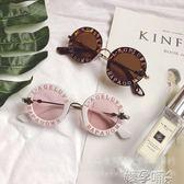 兒童透明眼鏡春季男童女童字母透明鏡框防紫外太陽眼鏡