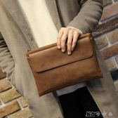 商務包  男士手包超大容量手拿包軟皮商務休閒男士手包信封包 卡卡西