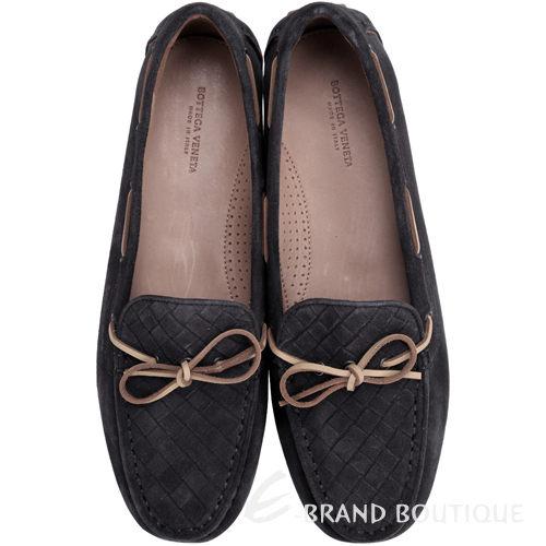 BOTTEGA VENETA 麂皮編織綁帶莫卡辛鞋(炭黑色) 1510380-C6