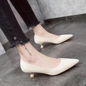 歡慶中華隊7:0女鞋低跟鞋貓跟鞋女矮跟2019春季新款淺口高跟鞋尖頭絨面黃色低跟單鞋女3cm