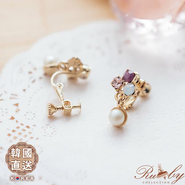 耳環 韓國直送方塊水鑽垂墜珠珠夾式耳環-Ruby s 露比午茶