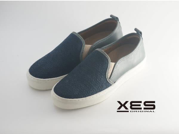 XES 拼皮時尚休閒鞋 樂福鞋 女款 藍色