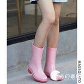 雨靴-雨鞋女韓國可愛夏季時尚中筒水鞋休閑水靴防水防滑膠鞋成人雨靴-奇幻樂園
