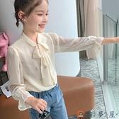 女童雪紡襯衫兒童韓版上衣休閒百搭【淘夢屋】