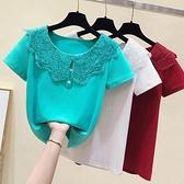 娃娃領上衣 2021夏季修身顯瘦減齡蕾絲娃娃領t恤衫女韓版新款短袖百搭上衣潮 小天使