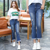 ★韓美姬★中大尺碼~毛邊褲腳喇叭褲牛仔褲(XL~4XL)