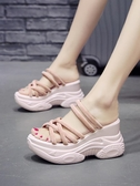 女士拖鞋2019新款外穿時尚夏季網紅懶人半拖鬆糕厚底內增高涼拖鞋 米娜小鋪