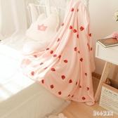少女心軟綿綿可愛小草莓法蘭絨毛毯冬季保暖珊瑚絨床單空調毯 qz5185【甜心小妮童裝】
