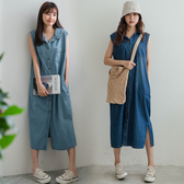 MIUSTAR 襯衫領雙口袋排釦無袖牛仔洋裝(共2色)【NH1621】預購
