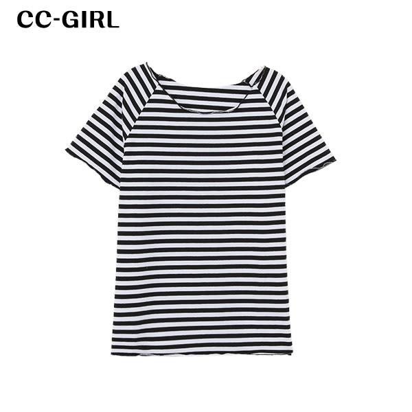 中大尺碼 多色木耳領T恤上衣~共六色 - 適XL~4L《 64901G 》CC-GIRL 新品