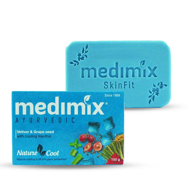 印度 Medimix Ayurvedic 草本香根草葡萄籽美膚皂 100g 孔雀藍 涼感香皂 肥皂 沐浴皂 【PQ 美妝】
