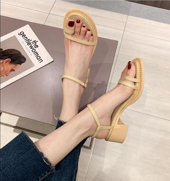 涼鞋-涼鞋女夏2021年新款百搭粗跟一字帶套趾高跟鞋