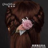 韓國發飾頭花飾品淑女百搭玫瑰花八字夾扭扭夾大號盤發頭飾發卡子
